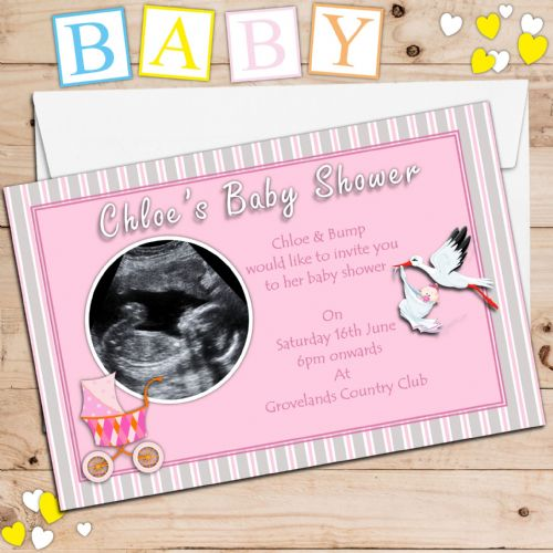 10 Personalised Pink Girl Baby Shower PHOTO Invitations N1